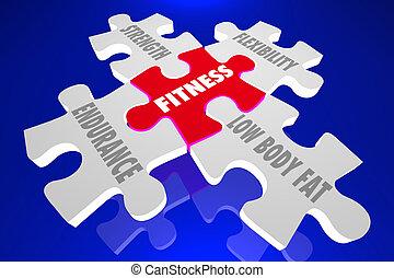 Fitness Elements Principles Words Puzzle Pieces 3d...