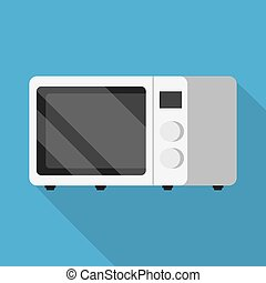 Microwave oven icon. Modern Flat style with a long shadow