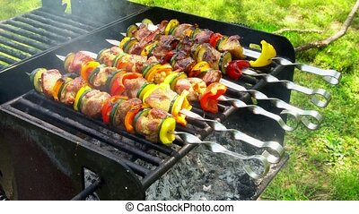 Kebab roasted on coals barbecue wood charcoal