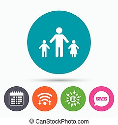 One-parent family with two children sign icon - Wifi, Sms...