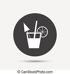 Cocktail sign. Alcoholic drink symbol. Gray circle button...