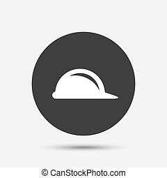 Hard hat sign icon. Construction helmet symbol. Gray circle...