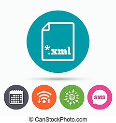 File document icon. Download XML button. - Wifi, Sms and...