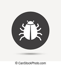 Bug sign icon Virus symbol Software bug error Disinfection...