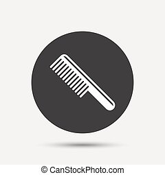 Comb hair sign icon Barber symbol Gray circle button with...