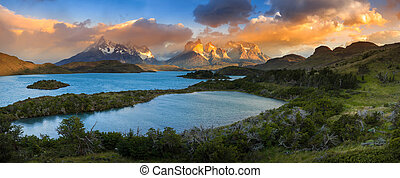 Lago Pehoe, National Park Torres del Paine in Southern Chile...