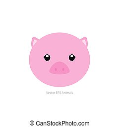 Isolated animal - Isolated cute pig on a white background