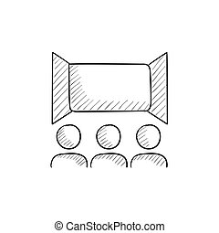 Viewers watching motion picture sketch icon. - Viewers...