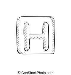 Hospital sign sketch icon - Hospital sign vector sketch icon...