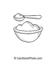 Baby spoon and bowl full of meal sketch icon - Baby spoon...
