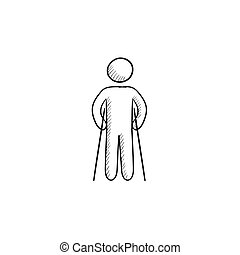 Man with crutches sketch icon - Man with crutches vector...
