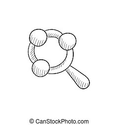 Baby rattle sketch icon - Baby rattle vector sketch icon...