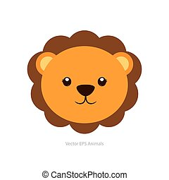 Isolated animal - Isolated cute lion on a white background