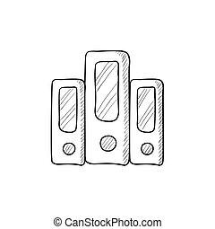 Row of folders sketch icon. - Row of folders vector sketch...