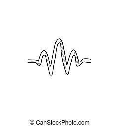 Sound wave sketch icon - Sound wave vector sketch icon...