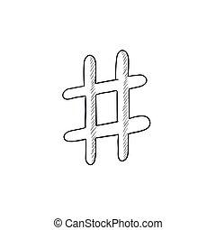 Hashtag symbol sketch icon. - Hashtag symbol vector sketch...