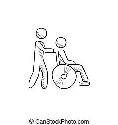 Nursing care sketch icon. - Nursing care vector sketch icon...