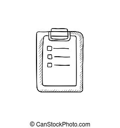 Medical report sketch icon - Medical report vector sketch...