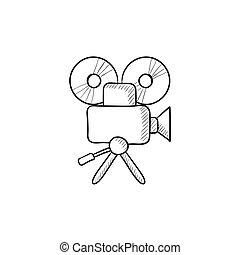 Video camera sketch icon.
