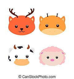Isolated animal - Set of different cute animals on a white...
