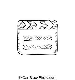 Clapboard sketch icon - Clapboard vector sketch icon...