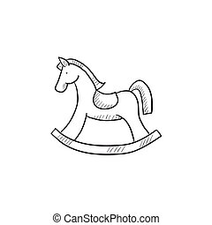 Rocking horse sketch icon. - Rocking horse vector sketch...