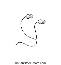 Earphone sketch icon - Earphone vector sketch icon isolated...