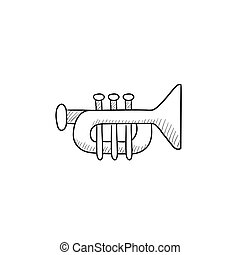 Trumpet sketch icon - Trumpet vector sketch icon isolated on...
