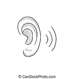 Human ear sketch icon. - Human ear vector sketch icon...