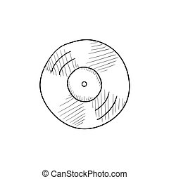 Disc sketch icon - Disc vector sketch icon isolated on...