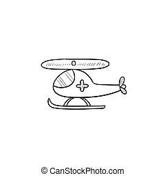 Air ambulance sketch icon. - Air ambulance vector sketch...