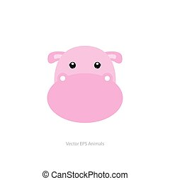 Isolated animal - Isolated cute hippo on a white background