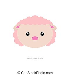 Isolated animal - Isolated cute sheep on a white background