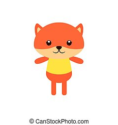Isolated animal - Isolated cute fox on a white background