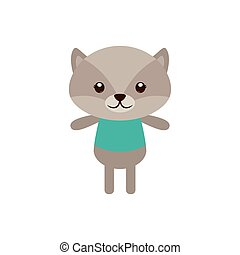 Isolated animal - Isolated cute racoon on a white background