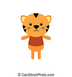 Isolated animal - Isolated cute tiger on a white background
