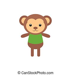 Isolated animal - Isolated cute monkey on a white background