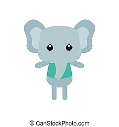 Isolated animal - Isolated cute elephant on a white...