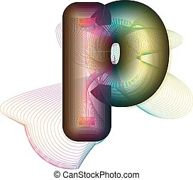 Abstract colorful Letter p Vector Illustration