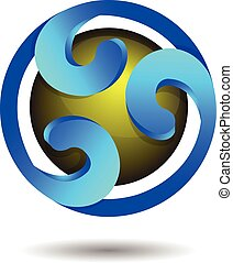 Abstract Glossy Blue Sphere Logo Ic