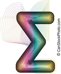 Abstract colorful Sigma Sum sign