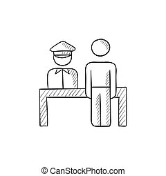 Airport security  sketch icon.