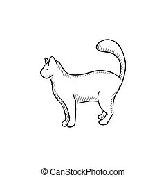 Cat sketch icon - Cat vector sketch icon isolated on...