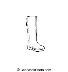 High boot sketch icon. - High boot vector sketch icon...