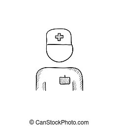 Nurse sketch icon - Nurse vector sketch icon isolated on...