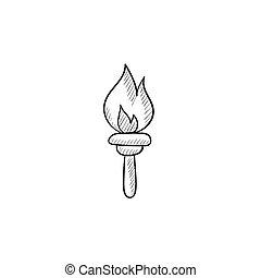 Burning olympic torch sketch icon. - Burning olympic torch...