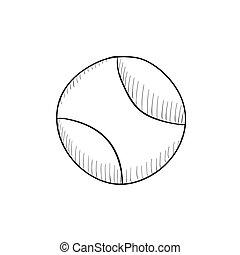 Tennis ball sketch icon - Tennis ball vector sketch icon...