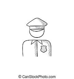 Policeman sketch icon - Policeman vector sketch icon...