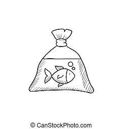 Fish in plastic bag sketch icon. - Fish in plastic bag...
