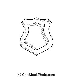 Police badge sketch icon - Police badge vector sketch icon...